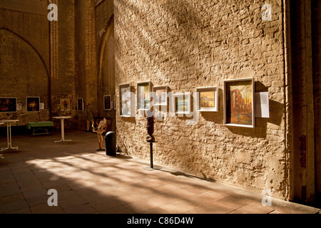 exhibition inside the Marienkirche or St. Mary's church, Hanseatic City of Stralsund, Mecklenburg-Vorpommern, Germany - Stock Photo