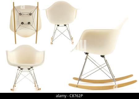 modern design classic eames rocking chair set on white background - Stock Photo