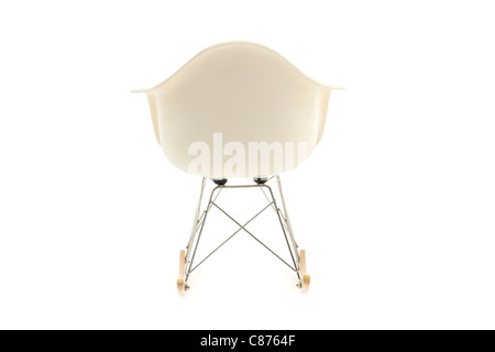 modern design classic eames rocking chair on white background - Stock Photo