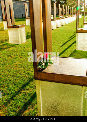 'Field of Empty Chairs' in the Oklahoma City National Memorial, Oklahoma City, Oklahoma, USA - Stock Photo