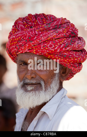 Indian Hindu man in village of Rohet in Rajasthan, Northern India - Stock Photo