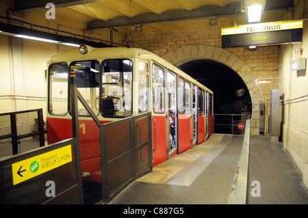 Vieux Lyon station of cable railway in Lyon city, France - Stock Photo