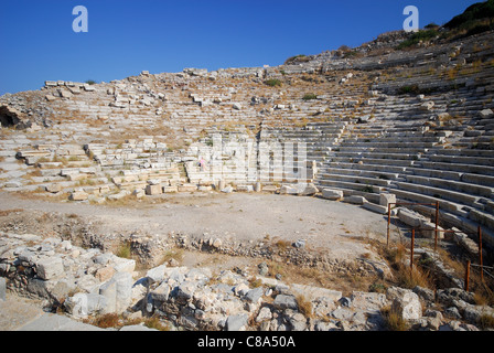DATCA PENINSULA, TURKEY. A view of the lower amphitheatre in the ancient Dorian city of Knidos. 2011. - Stock Photo