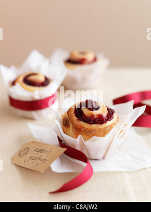 Redcurrant jelly pastry rolls - Stock Photo