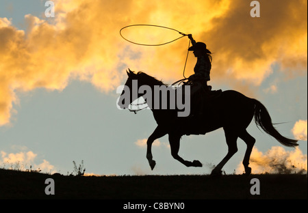 Silhouette of a cowgirl with a lasso against a dramatic clouds setting sun - Stock Photo