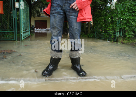 Young host looking on the street flooded by water comes from Jasiolka river during second flood in Poland in 2010. - Stock Photo