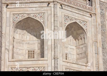 The Taj Mahal mausoleum, southern view detail, Uttar Pradesh, India - Stock Photo