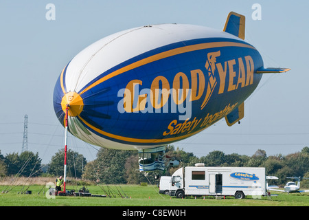 Goodyear Airship 'Spirit of Safety II' moored at Manchester City Airport, Barton, Manchester - Stock Photo