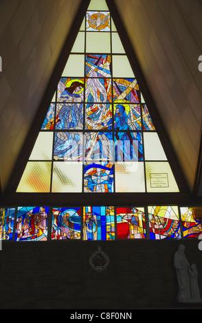 Stained glass window, Regina Mundi Catholic Church, scene of Soweto uprising, Soweto, Johannesburg, Gauteng, South - Stock Photo
