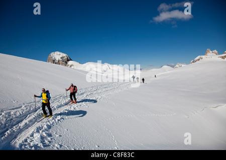 Ski mountaineering in the Dolomites, Pale di San Martino, Cima Fradusta ascent, Trentino-Alto Adige, Italy - Stock Photo