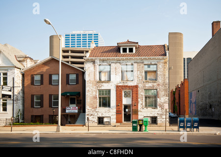 Older and newer buildings next to each other in Columbus, Ohio. - Stock Photo