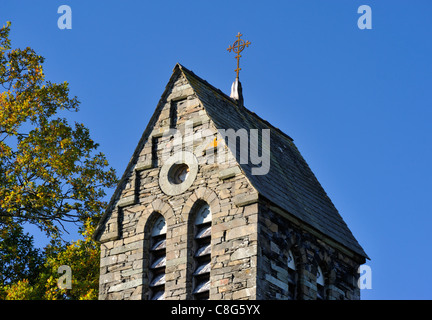 Saddleback roof on South-West tower. Church of the Sacred Heart. Coniston, Lake District National Park, Cumbria, - Stock Photo