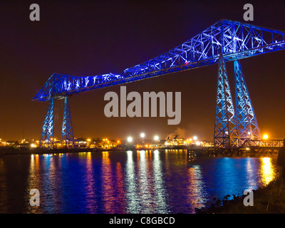 Middlesbrough Transporter bridge over river Tees with illuminations to celebrate 100 years of service October 2011 - Stock Photo