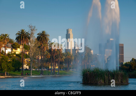 Downtown skyline from Echo Park, Los Angeles, California, United States of America - Stock Photo