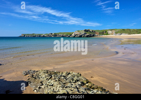 Broad Haven beach in spring sunshine, Pembrokeshire National Park, Wales, United Kingdom - Stock Photo