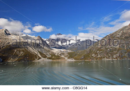 Fairweather Range and Johns Hopkins Inlet seen from a ship. - Stock Photo