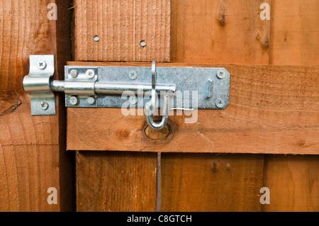 Garden gate slliding bolt - Stock Photo