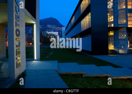 Lugano, university, Switzerland, Europe, canton, Ticino, dusk, light, illumination, building, construction, building, - Stock Photo