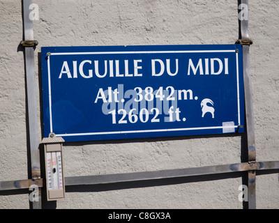Sign at the Aiguille du Midi, Chamonix, France - Stock Photo