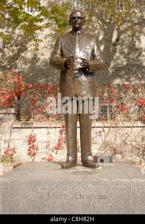 statue of long serving Montreal mayor Jean Drapeau in Place Jacques Cartier in the Old Montreal quarter - Stock Photo