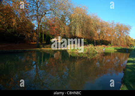 Lake at St Fagans Museum of Welsh Life, Cardiff, Wales - Stock Photo