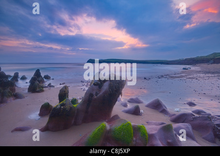 rugged coastline at sunset on Dingle Peninsula, Co.Kerry, Ireland - Stock Photo