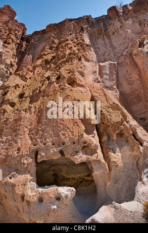 Long House cavates (cliff dwellings) carved by Anasazi, in Frijoles Canyon, Bandelier National Monument, New Mexico, - Stock Photo