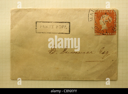 The Mauritius 'Post Office' one penny red stamp on the envelop. One of the rarest postage stamps in the world. - Stock Photo