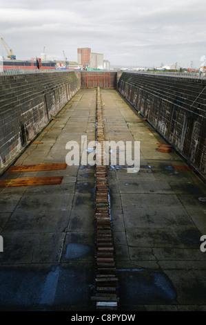 Thompson Dry Graving Dock, Belfast, where Titanic was built - Stock Photo