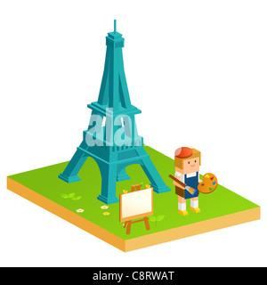 Girl Doing Painting Near Eiffel Tower - Stock Photo