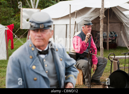 Civil War reenactment, Confederate soldiers at an encampment at the Virginia State Fair in Richmond Virginia - Stock Photo
