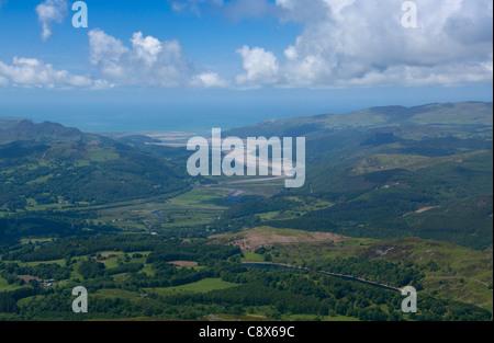 Mawddach estuary aerial view from near Dolgellau Snowdonia National Park Gwynedd Wales UK - Stock Photo