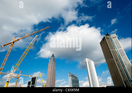 Skyscrapers in Frankfurt, from left, Messeturm tower, twin towers Castor and Pollux and Tower 185, Hesse, Germany, - Stock Photo