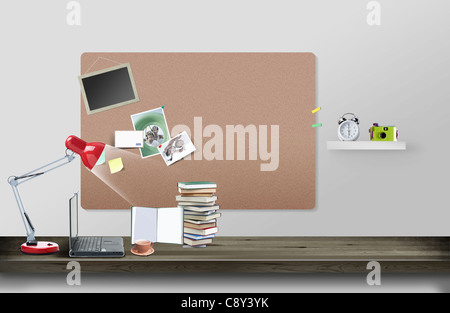 Laptop, Red Lamp And Stacks Of Books - Stock Photo