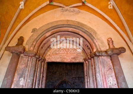 Entrance portal of Muenster of the Frauenwoerth, Fraueninsel, Chiemsee, Chiemgau, Upper Bavaria, Bavaria, Germany - Stock Photo