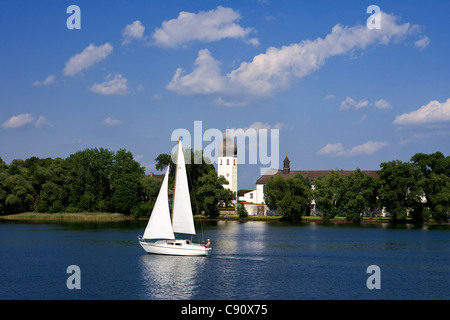 Frauenchiemsee minster, also called Frauenwoerth, Benedictine monastry, Chiemsee, Bavaria, Germany, Europe - Stock Photo