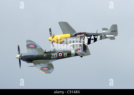 Spitfire and Mustang - Stock Photo