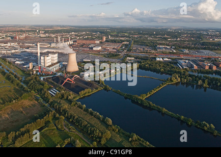 Aerial view of Volkswagen Autostadt, Wolfsburg, canal and surrounding area, Wolfsburg, Lower Saxony, Germany - Stock Photo