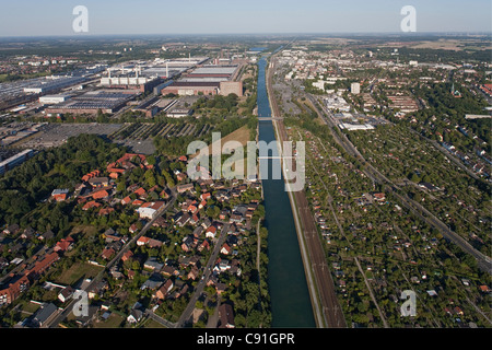 Aerial view of Volkswagen Autostadt, Canal and surrounding area, Wolfsburg, Lower Saxony, Germany - Stock Photo