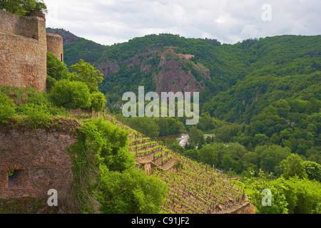 View from Ebernburg castle at Rheingrafenstein ruin Bad Muenster am Stein - Ebernburg District Bad Muenster am Stein - Stock Photo