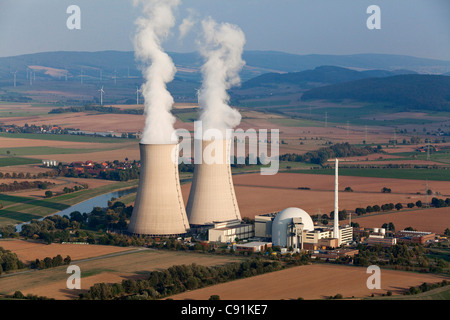 Aerial photo of the nuclear power plant Grohnde and the Weser River, Lower Saxony, Germany - Stock Photo
