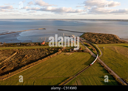 Aerial view of the East Frisian island Langeoog ferry and island railway, Langeoog Lower Saxony, northern Germany - Stock Photo