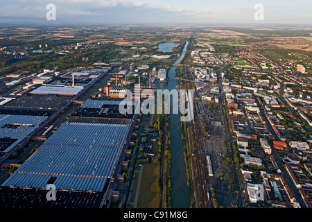 Aerial view of the power plant and factory at VW Autostadt Wolfsburg, Mittelland Canal, Lower Saxony, Germany - Stock Photo