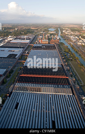 Aerial view of the power plant and factories, VW Autostadt Wolfsburg, Mittelland Canal, Lower Saxony, Germany - Stock Photo