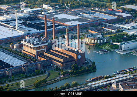 Aerial view of a power plant and VW Autostadt Wolfsburg, Lower Saxony, Germany - Stock Photo