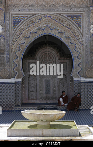 Courtyard of the Karaouine Mosque in Fez, Morocco. - Stock Photo
