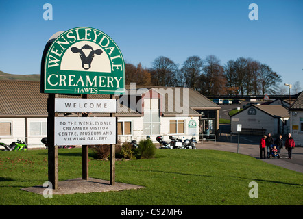 Wensleydale creamery cheese factory at Hawes Yorkshire Dales National Park England UK. The sign at the entrance. - Stock Photo