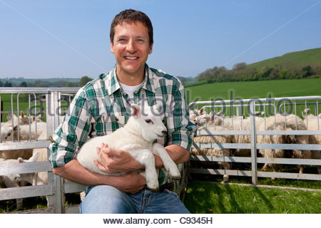 Portrait of smiling farmer holding lamb in pasture - Stock Photo