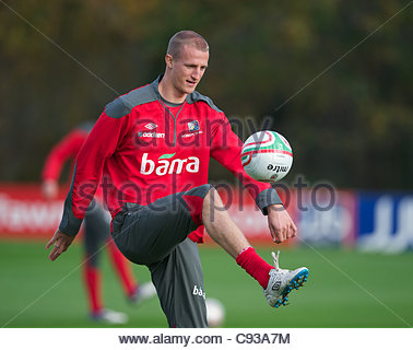 CARDIFF, WALES - Thursday, November 10, 2011: Norway's Brede Hangeland during a training session at the Vale of - Stock Photo