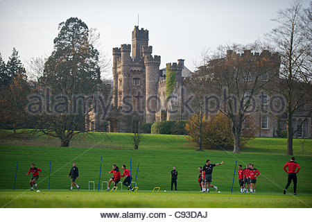 CARDIFF, WALES - Thursday, November 10, 2011: Wales players during a training session at the Vale of Glamorgan Hotel - Stock Photo